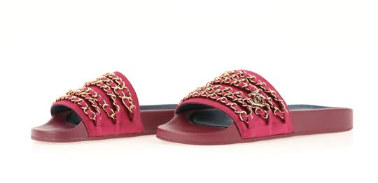 Chanel Mule Rubber Red Sandals Image 3