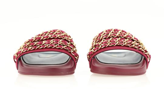 Chanel Mule Rubber Red Sandals Image 4