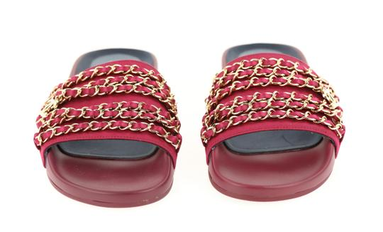 Chanel Mule Rubber Red Sandals Image 5