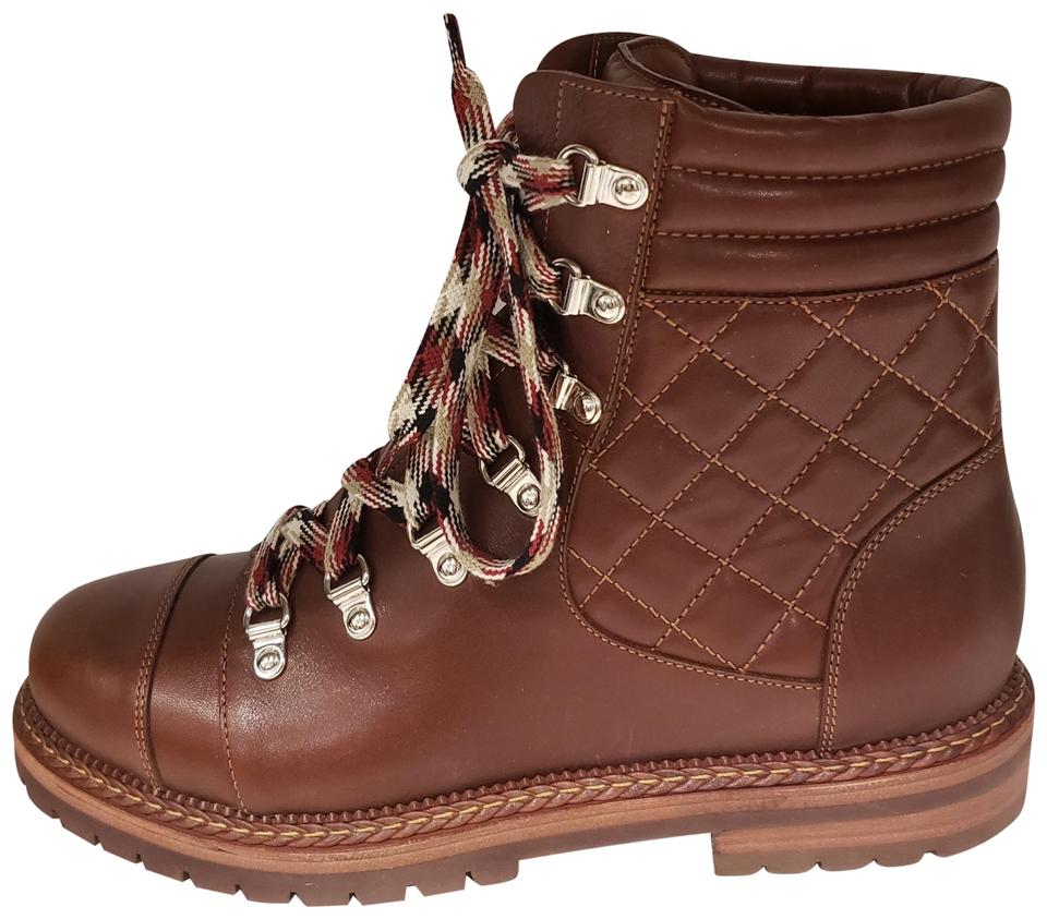 03fa7fc2f72 Chanel Brown 18a Quilted Leather Lace Up Hiking Combat Boots Booties Size  EU 40.5 (Approx. US 10.5) Regular (M