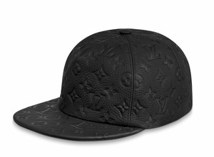 Louis Vuitton 1.0 Monogram Black Logo Leather Oversized Fitted Hat Cap One Size