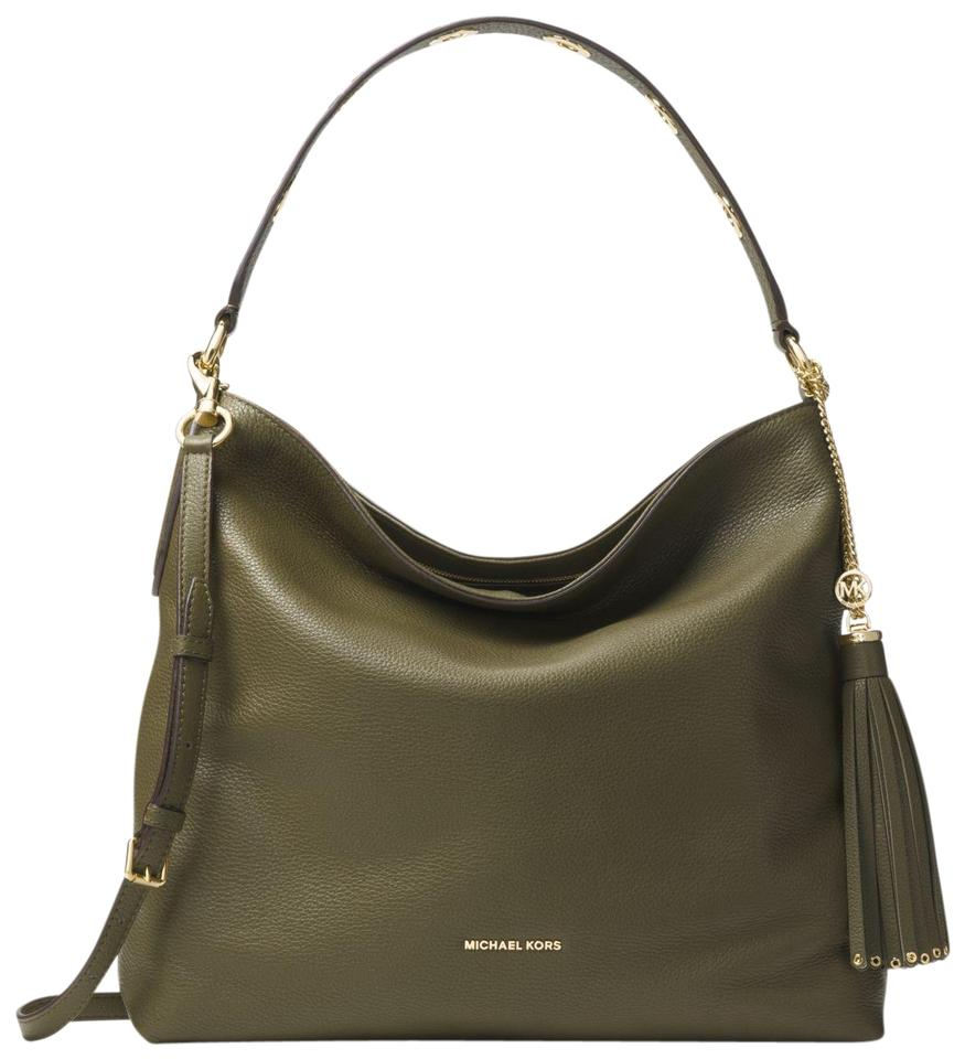 48464a27c40f44 Michael Kors Brooklyn Large Olive Leather Shoulder Bag - Tradesy