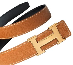 Hermès Gold and Black Constance Reversible H Belt