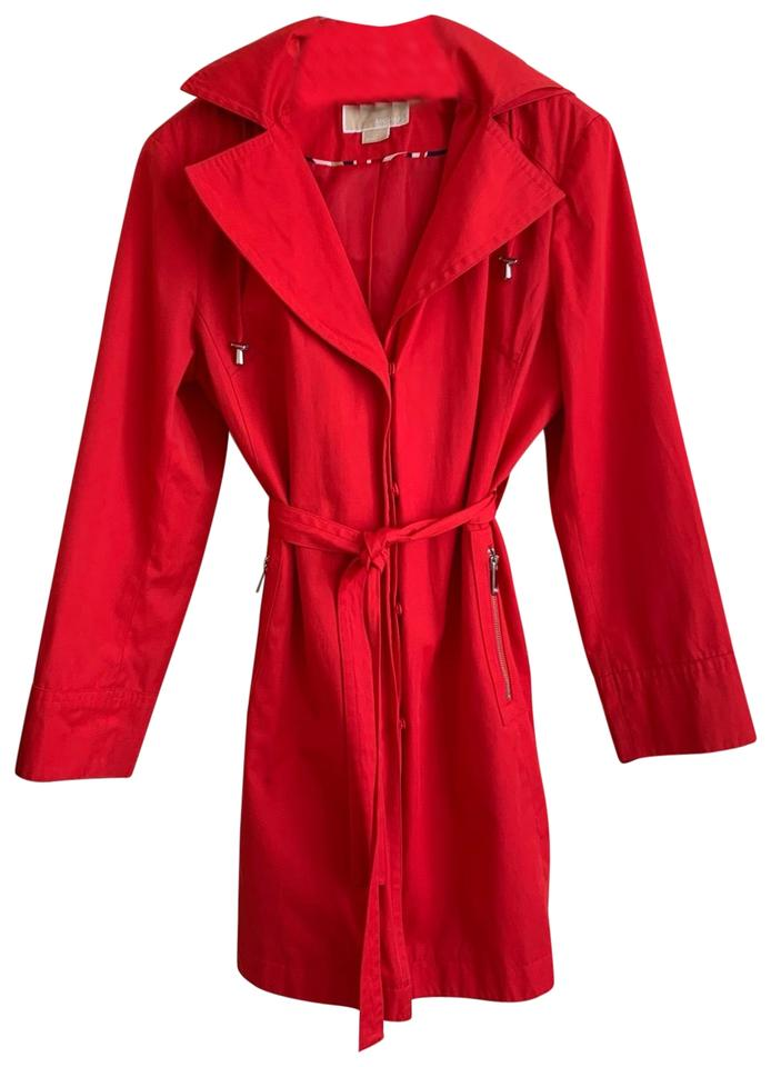 13542635f1 MICHAEL Michael Kors Red Hooded Spring Coat Size 12 (L) - Tradesy