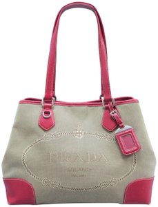 67c554c66397 Prada Canapa Canvas Leather-trimmed Tote in brown
