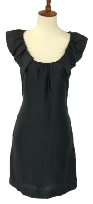 916adc2ac1206 J.Crew Black Grey Linen Ruffle Collar Short Casual Dress Size 4 (S ...