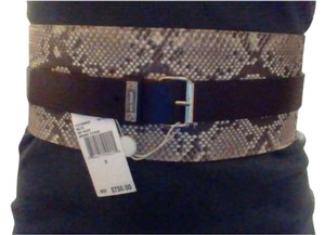 Michael Kors Michael Kors Size Small Natural Python with Brown Leather and Silver Hardware Obi Belt