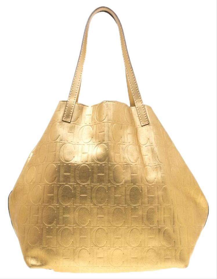 fb8ddb963e4aa4 Carolina Herrera Monogram Matryoshka Gold Leather Tote - Tradesy
