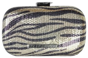 BCBGeneration Metallic Zebra Sequin Shoulder Light Gold Clutch