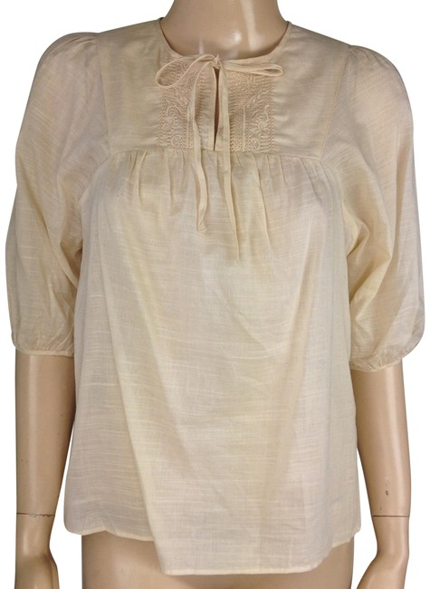Item - Beige Cotton Pleasant Keyhole Tie Front Embroidered 3/4 Sleeve Blouse Size 2 (XS)