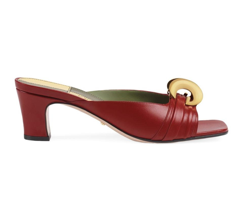 138c3453e052 Gucci Hibiscus Red Usagi Leather 11 Sandals Size EU 41 (Approx. US ...
