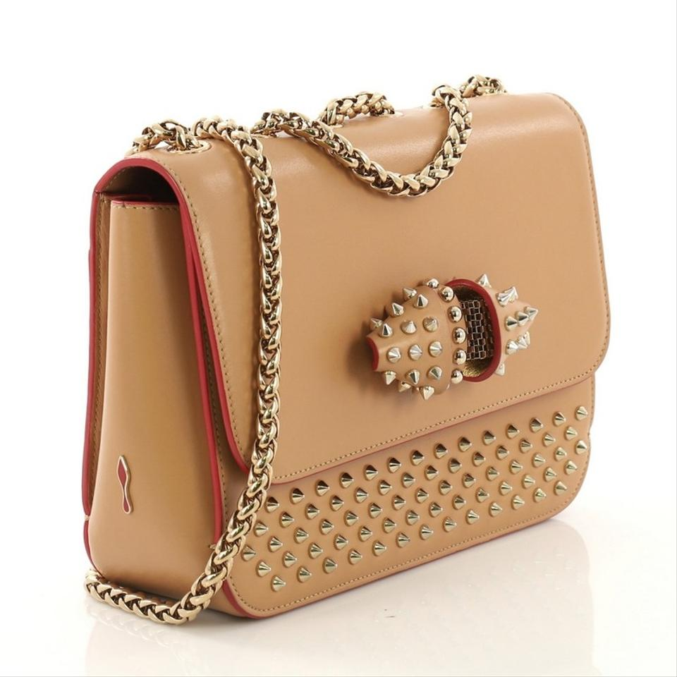 85ea6aafe4a Christian Louboutin Sweet Charity Spiked Small Beige Leather Cross Body Bag  65% off retail