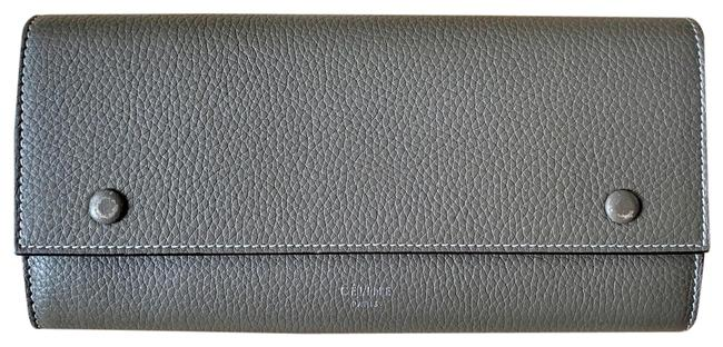 Item - Souris with Yellow Leather Interior Drummed Calfskin Large Multifunction Flap Wallet