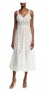 White Maxi Dress by Jovani Lace A-line Illusion Sheer V-neck