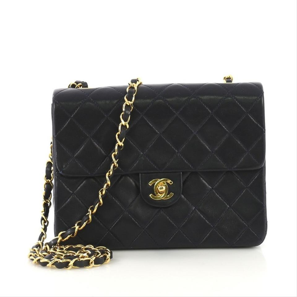 2e05db91ffb Chanel Classic Flap Vintage Square Quilted Small Navy Blue Lambskin ...