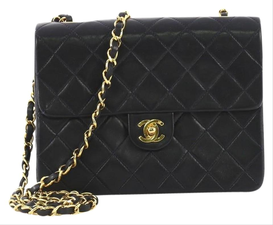 05c59759eaeb99 Chanel Classic Flap Vintage Square Quilted Small Navy Blue Lambskin ...