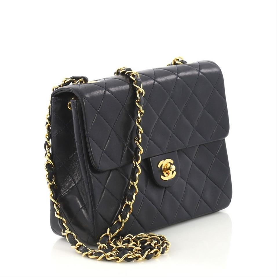 c2415e163772 Chanel Classic Flap Vintage Square Quilted Small Navy Blue Lambskin Leather Cross  Body Bag - Tradesy