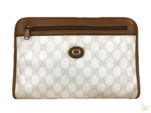 92f79af67aa Gucci White Beige Cosmetic Case GG Web Vintage Pouch Make Up Bag