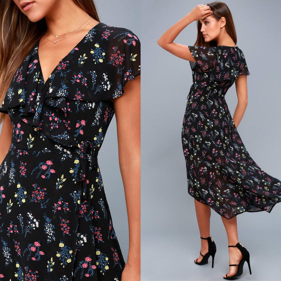 e1546b1ea7 Lulu s Black Act Of Love Floral Print Midi Wrap Mid-length Casual ...