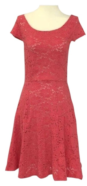 7accbaac523a Anthropologie Pink Maeve Day Flower Eyelet Short Casual Dress Size 0 ...