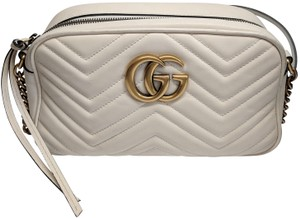 043dd11101e Gucci Marmont Gg Small Matelasse Camera Quilted White Leather Cross Body Bag