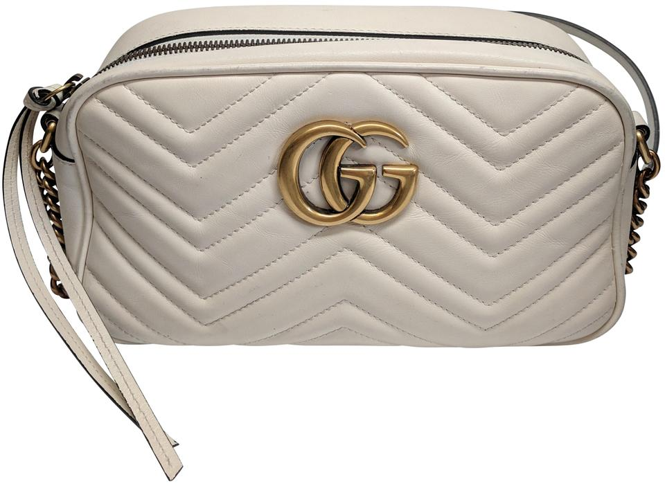 9d0f4c865 Gucci Marmont Gg Small Matelasse Camera Quilted White Leather Cross Body Bag