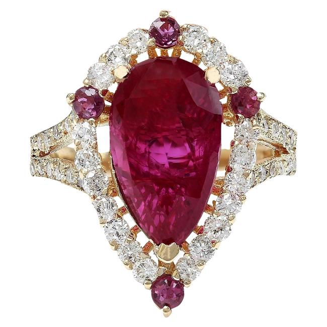 Item - Red 4.52 Carat Natural Ruby 14k Solid Yellow Gold Diamond Ring