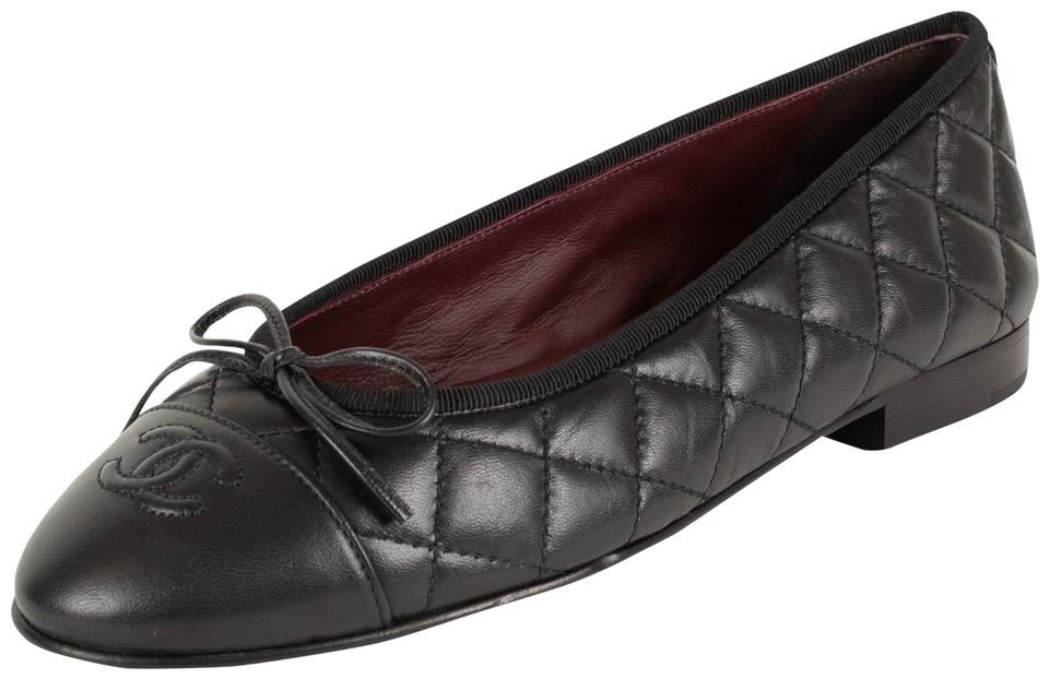 0b5cf4c282a Chanel Black Quilted Leather Cap Toe Ballerina Flats Size EU 39 ...