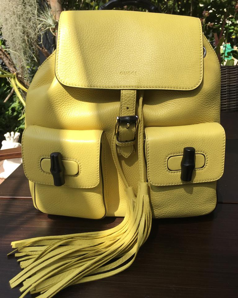 8c7558a5add0 Gucci Bamboo 370833 Mimosa Yellow Leather Backpack - Tradesy