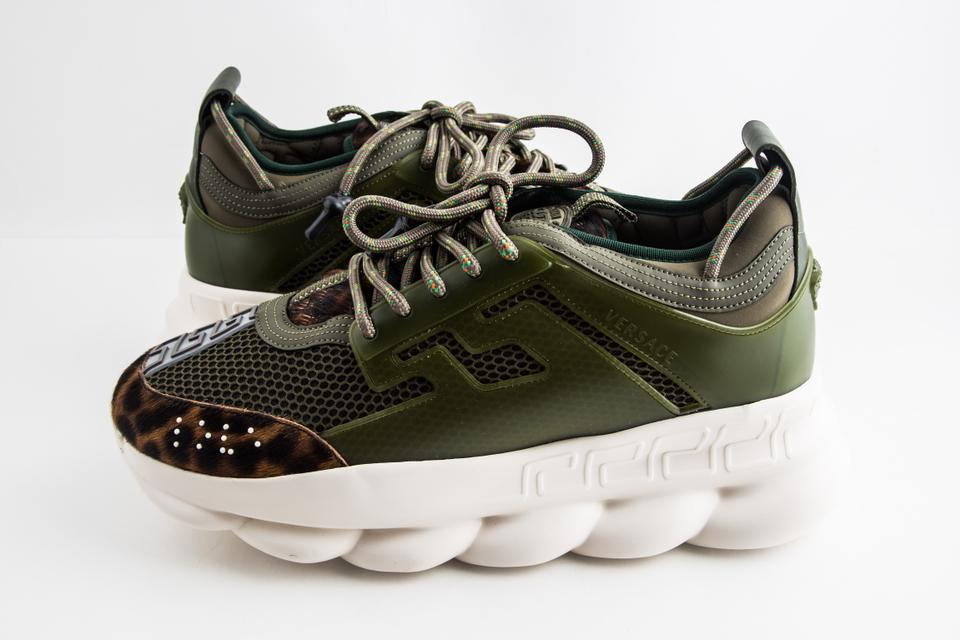 Versace Green Chain Reaction Sneakers Shoes 15% off retail