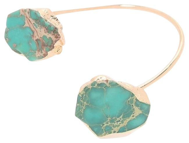 Item - Gold and Green Jasper Open Bangle Bracelet