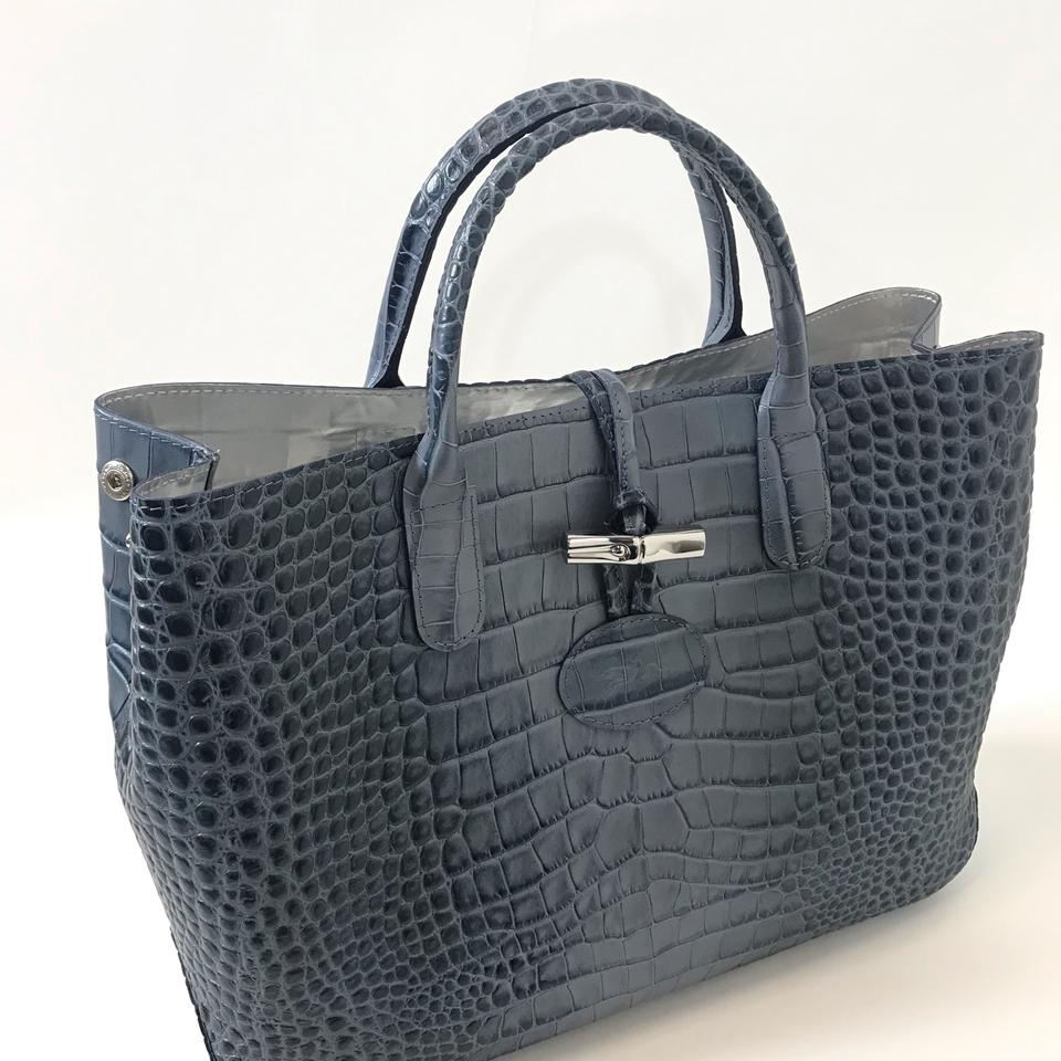 ecd776730 Longchamp Bag Roseau Crocodile Pattern Small Pilot Blue Leather Tote ...