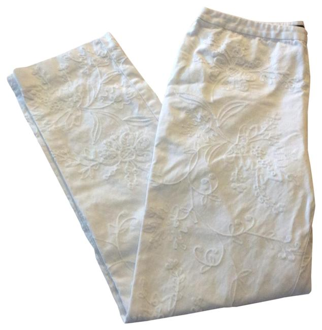Item - White Floral Embroidered Pants Capris Size 6 (S, 28)