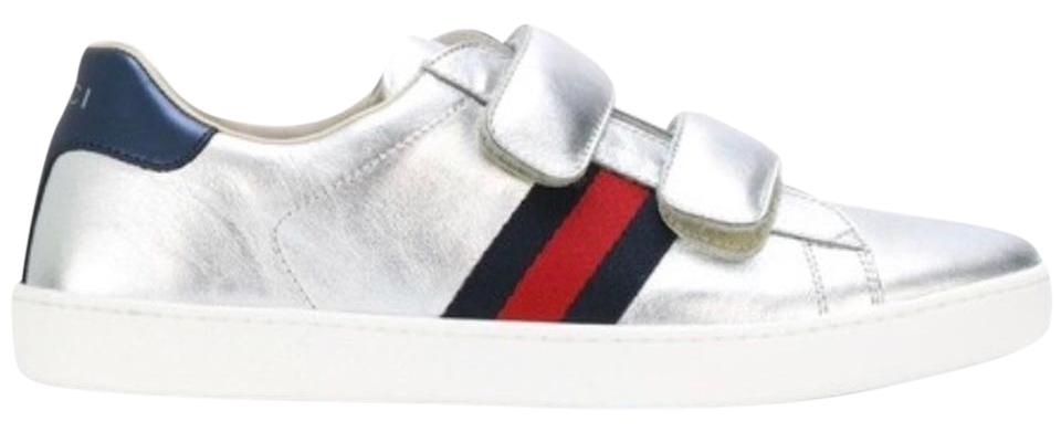 4a9850b1149 Gucci Silver Junior Unisex New Ace Trainers Eu37 Sneakers. Size  EU 36 ...