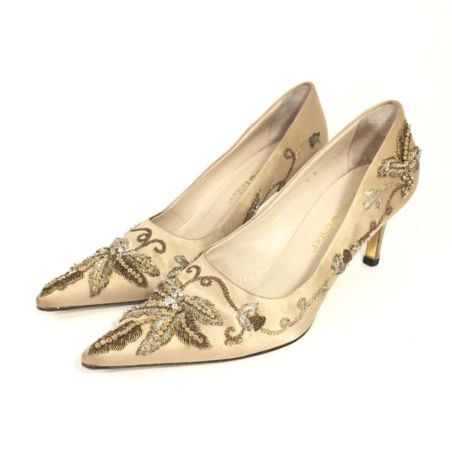 Item - Gold Embroidered & Beaded Satin Pointed Pumps Size US 8 Regular (M, B)