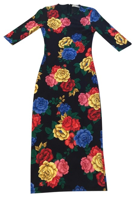 Item - Black Red Yellow Blue Delora Fitted In Camellia Bouquet Long Cocktail Dress Size 0 (XS)
