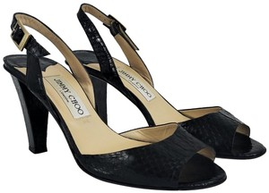 Jimmy Choo Ships In 24 Hours Sandals Elaphe Snakeskin Black Pumps