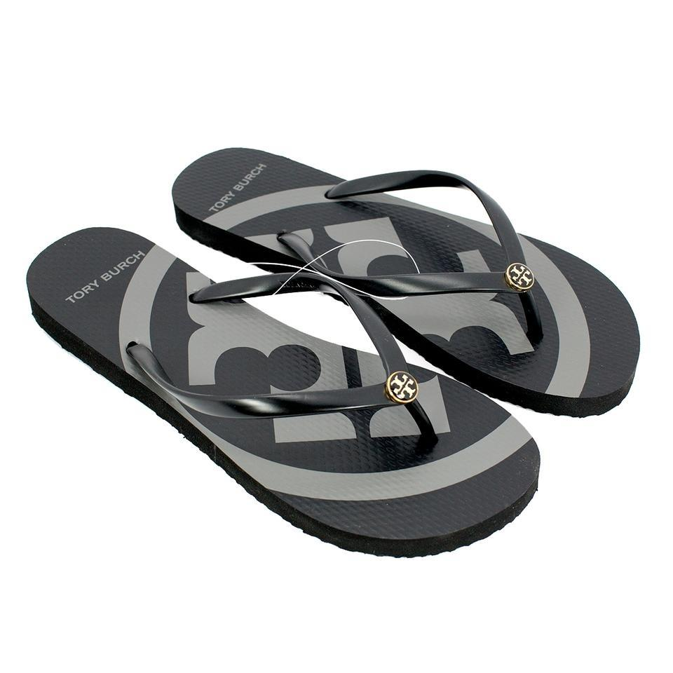f23211f771fe Tory Burch Black New Emory Flip Flops Logo Sandals Size US 7 Regular ...