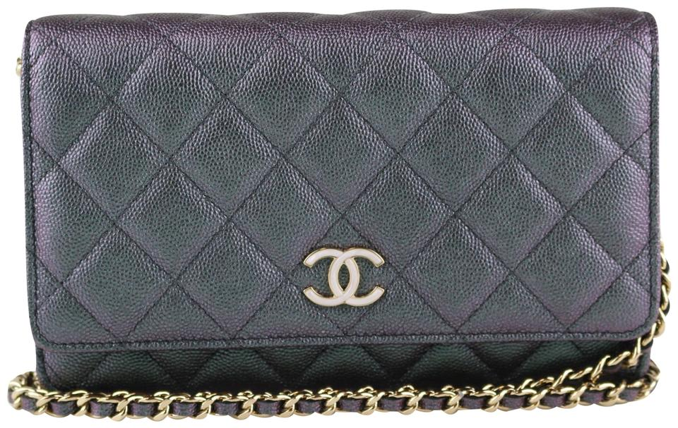 00a11a59fdc1 Chanel Wallet on Chain Iridescent Woc Black Grained Lambskin Cross ...