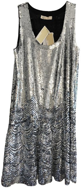 Item - Silver Sleeveless Sequin Mid-length Cocktail Dress Size 8 (M)