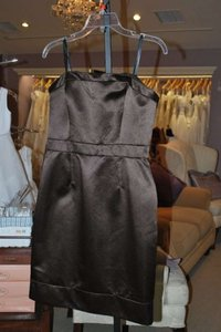 Badgley Mischka Brown Espresso Satin 950201 Strapless Cocktail Traditional Bridesmaid/Mob Dress Size 6 (S)