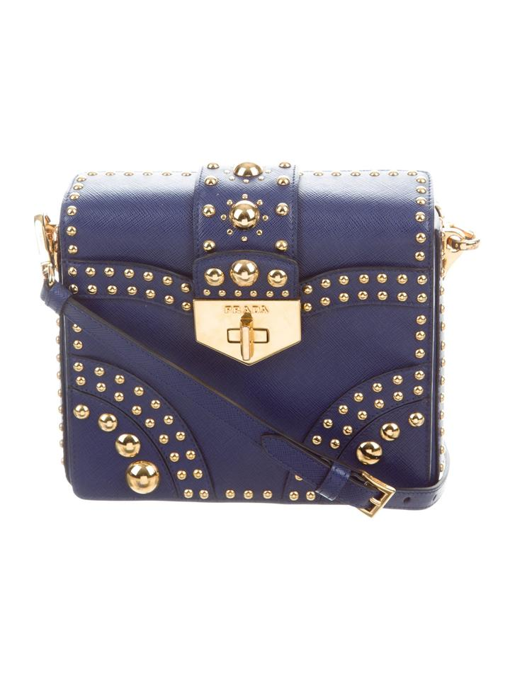 870557cebdb49c Prada Pattina Saffiano Studded Crossbody Navy Leather Shoulder Bag ...