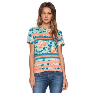 Marc by Marc Jacobs Rose Floral Patchwork Stripe T Shirt Pale Jade Multi
