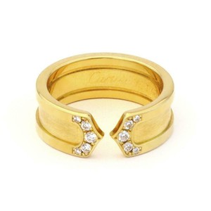 Cartier Double C Diamond 18k YGold 6.5mm Band Ring Size 45-US 3.5 w/Cert