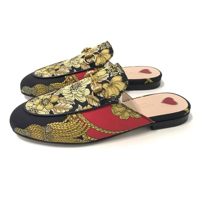 Item - Red - Black - Yellow Mules Twill Intra Over Placed Floral Print Flats Size EU 35 (Approx. US 5) Narrow (Aa, N)