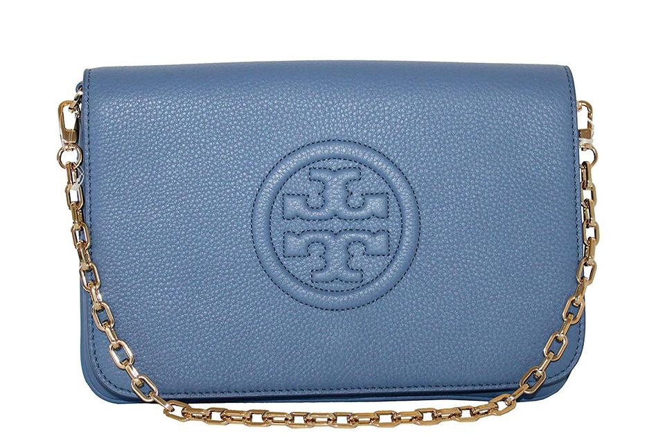 4cd14c7ded3 Tory Burch Bombe Convertible Clutch Wallis Blue Leather Shoulder Bag ...