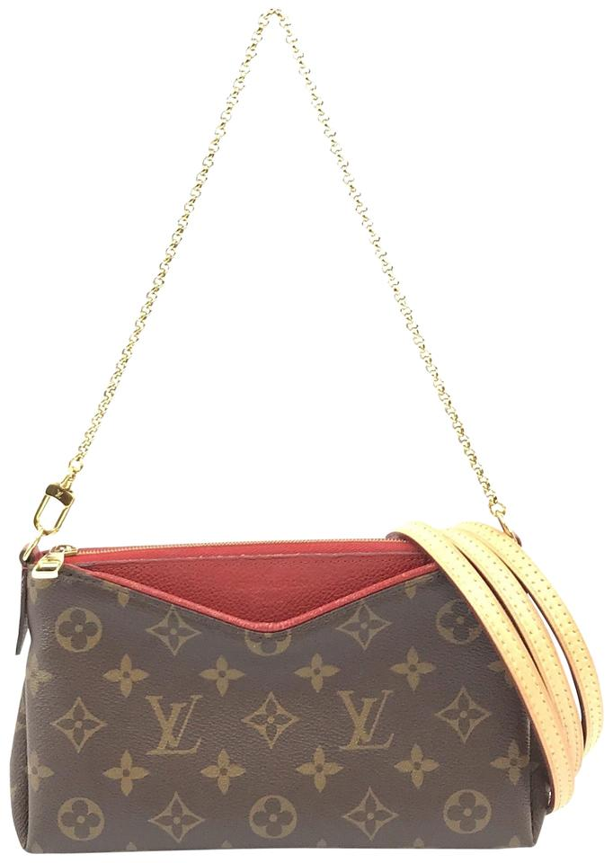 cbc570d2676a Louis Vuitton Pallas  28959 Rare Clutch Two Way with Long Shoulder Strap  Monogram Coated Canvas Cross Body Bag