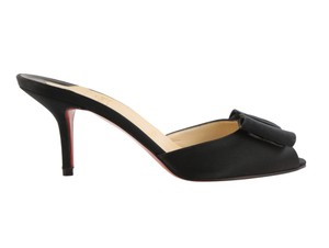 Christian Louboutin Satin Leather Black Sandals
