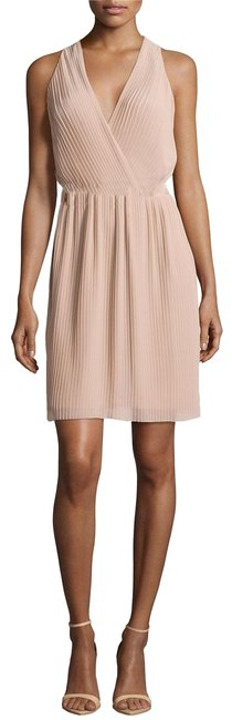 Item - Beige Pleated Wrap Short Night Out Dress Size 4 (S)