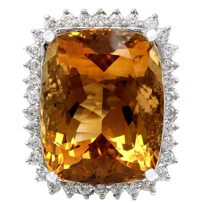 Item - Yellow 31.08 Carat Natural Citrine 14k Solid White Gold Diamond Ring